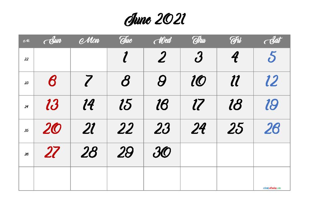 Print A Calendar June 2022.Free Printable Calendar June 2021 2022 And 2023 June Calendar Printable September Calendar Printable Calendar With Week Numbers