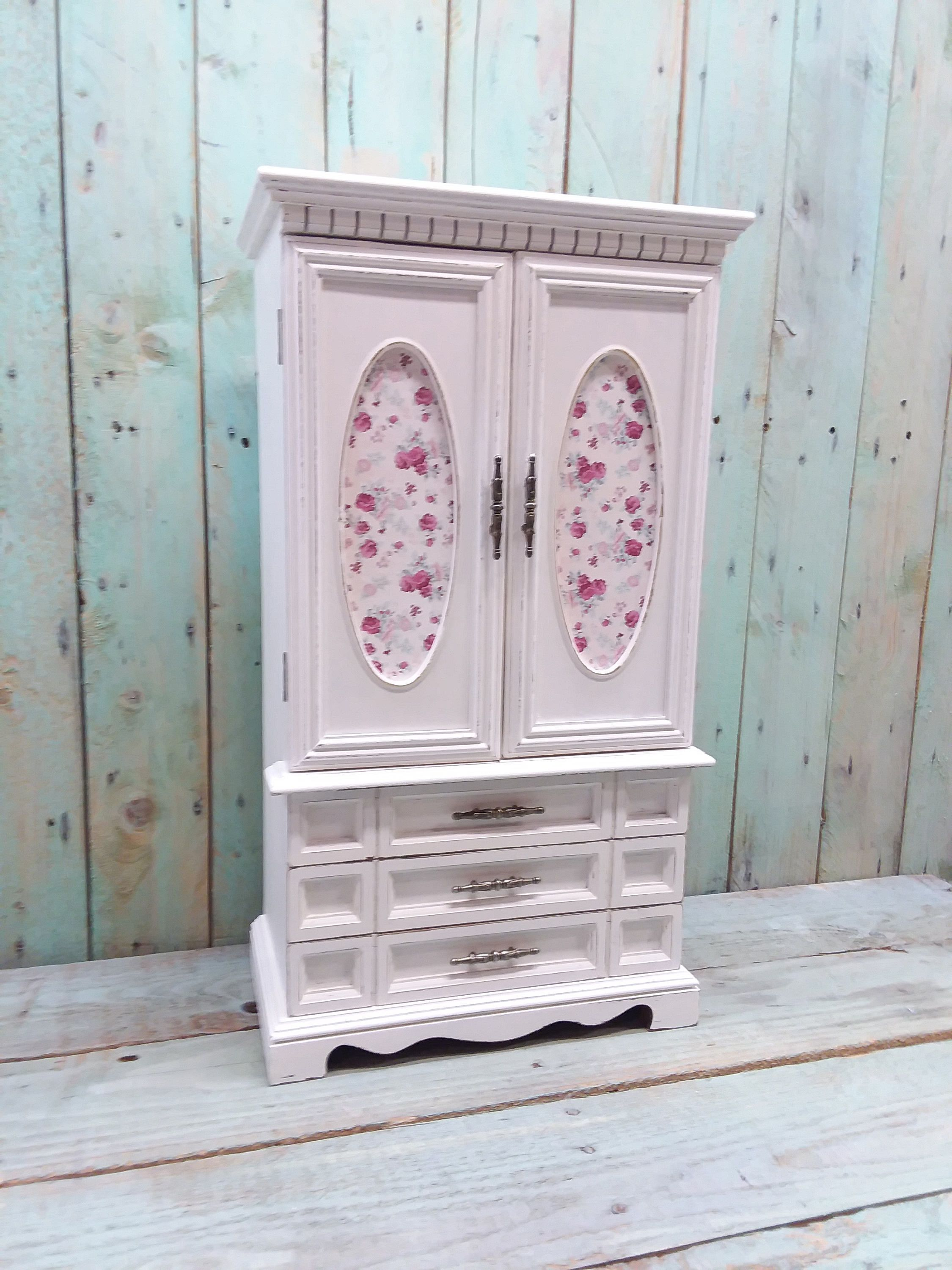 Large Shabby Chic Vintage Rustic Wooden Jewelry Box Armoire Painted Antique White  Distressed Upcycled Refurbished By