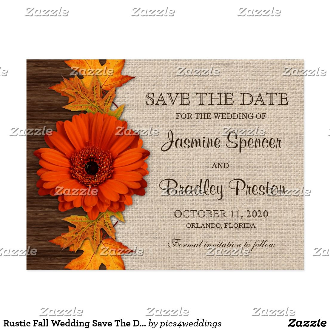 Rustic Fall Wedding Save The Date Templates Postcard | Return ...