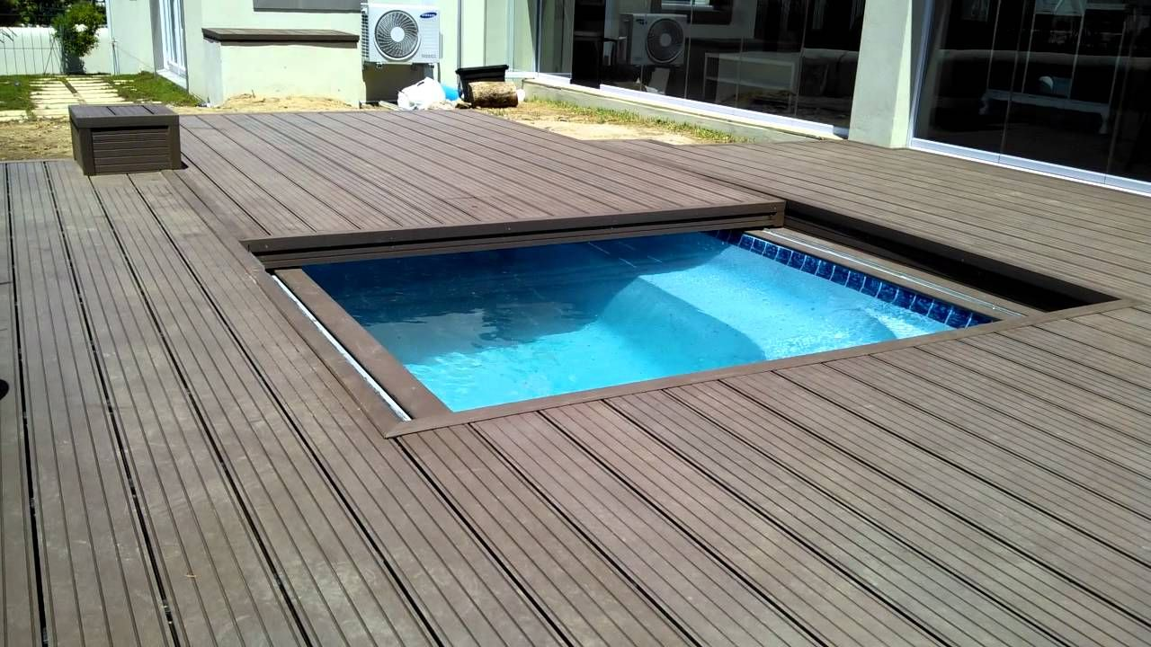 Decks4life Composite Deck With Motorized Pool Sliding Cover Wood