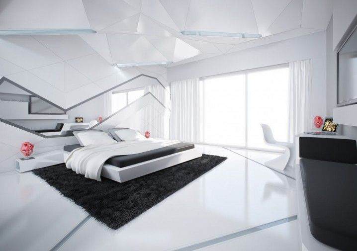 Futuristic Black And White Modern Bedroom With Glossy Flooring And Inspiration Black And White Modern Bedroom Decor Collection