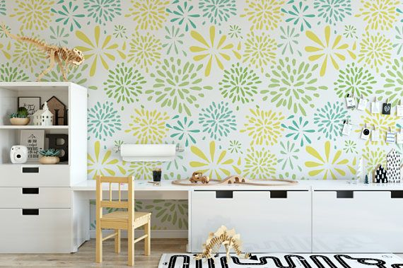 Flower Works Yellow Peel And Stick Wallpaper Flower Words Removable Wallpaper Wall Decor