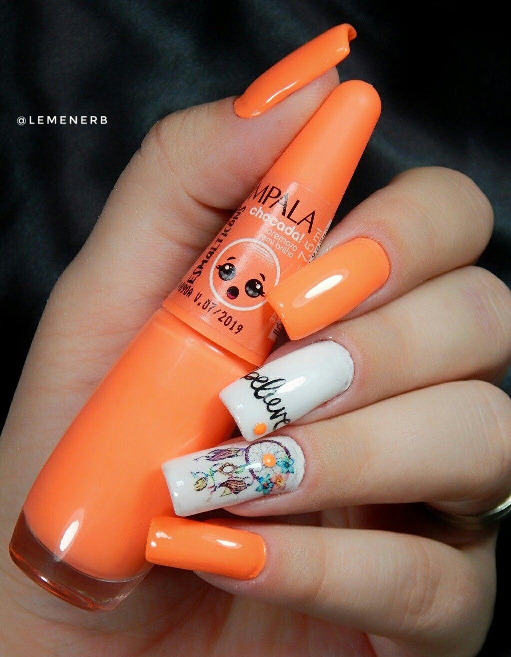 #naildesign #nailart #nails #unhadecorada #decoraçaodeunha #peliculadeunha #unhas #mani #manicure #esmalte #esmaltelaranja #esmalteimpala #esmaltechocada #summernails #filtrodossonhos #dreamcatcher