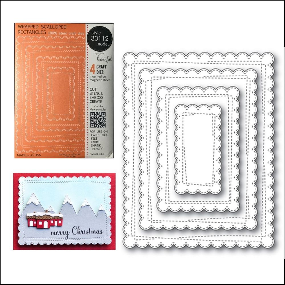 Rectangle Frames Metal Die Stencil Double Stitch Cut Out Memory Box Cutting Dies
