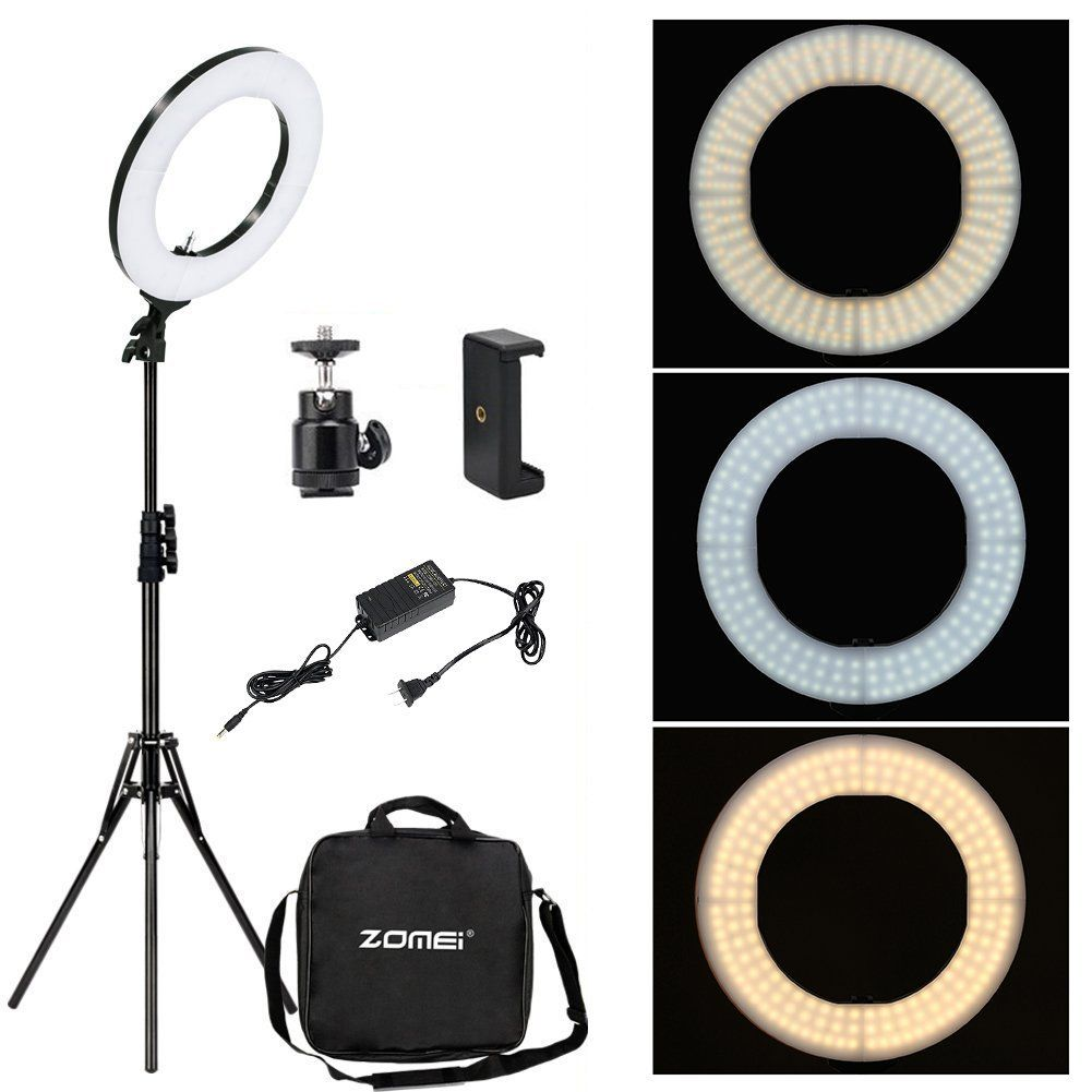 Zomei 12 Inch Inner 14 Inch Outer Led Ring Light 36w 5500k Lighting Kit With Tripod Stand Ball Head And Pho Led Light Kits Led Ring Light Ring Light With Stand