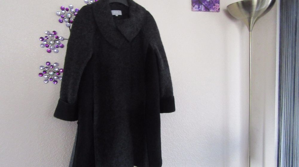 M&S PER UNA Grey Mix WOOL Blend  Autumn Coat Long Satin Lined  Jacket Size UK 16 #PerUna #OtherCoats #Outdoor