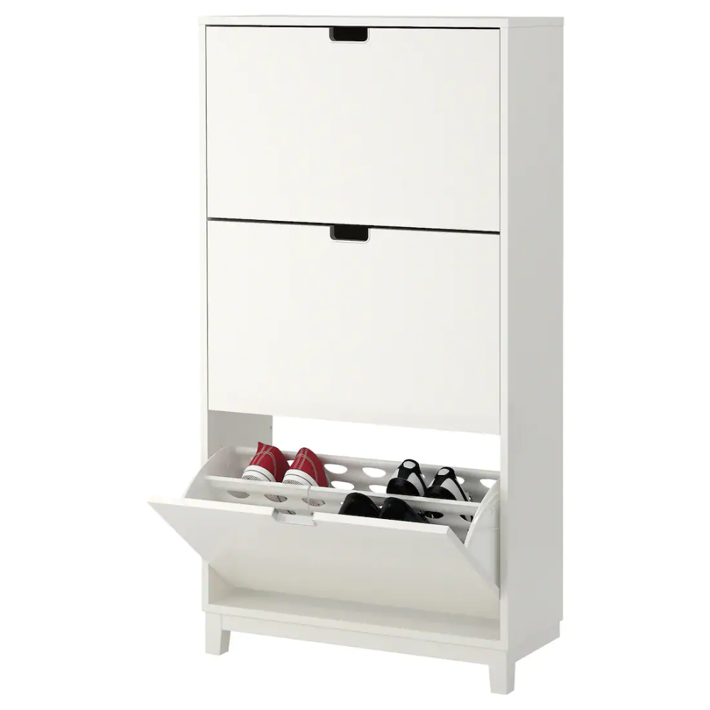Stall White Shoe Cabinet With 3 Compartments 79x148 Cm Ikea Shoe Cabinet Shoe Cabinet Design Kids Shoe Storage
