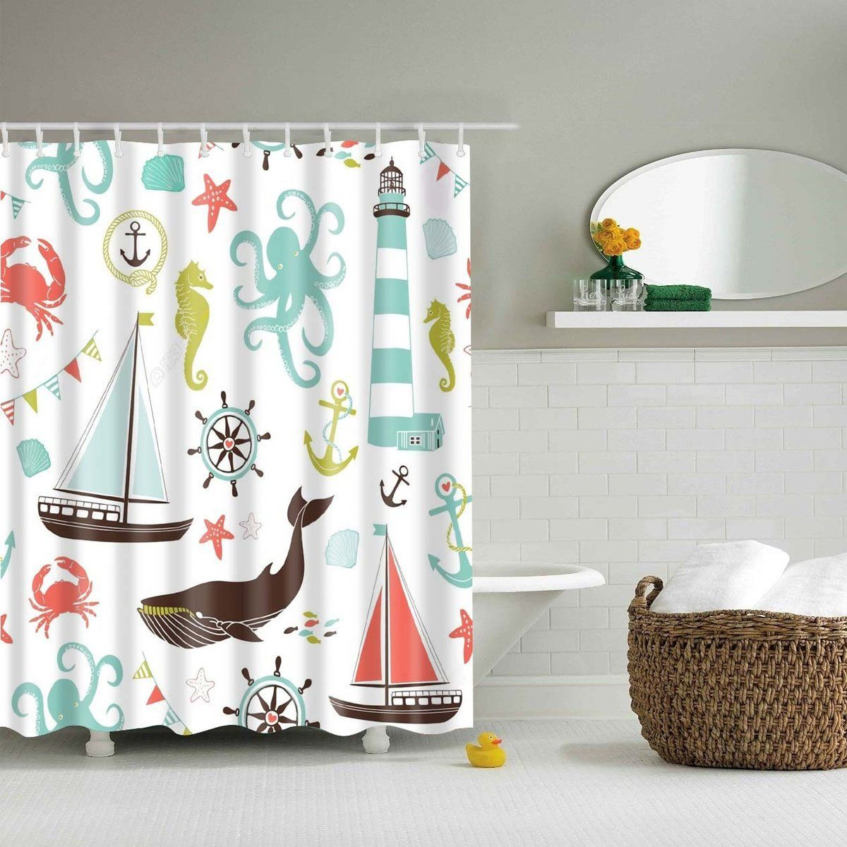 Cute Marine Product Cartoon Kids Shower Curtain Bathroom Decor