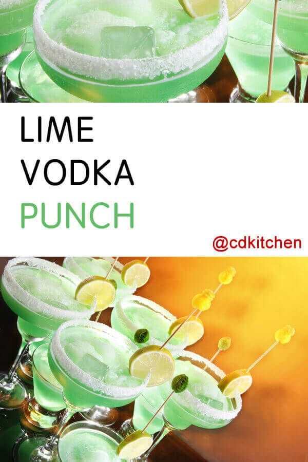 Lime Vodka Punch - This lovely green punch has a light lime flavor and a fizzy, creamy texture. Great for parties and so simple to make. Made with lime vodka, lemon-lime soda, lime sherbet | CDKitchen.com #vodkapunch Lime Vodka Punch - This lovely green punch has a light lime flavor and a fizzy, creamy texture. Great for parties and so simple to make. Made with lime vodka, lemon-lime soda, lime sherbet | CDKitchen.com #vodkapunch