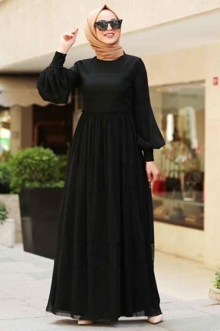 Nayla Collection Nayla Collection Balon Kollu Siyah Tesettur Elbise 3874s Elbise Basortusu Modasi Elbise Modelleri
