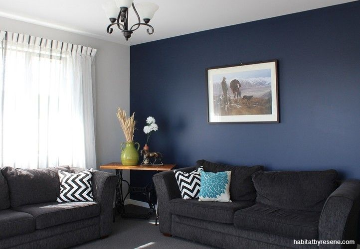 Selina And Earl Find Inspiration Close To Home Blue Feature Wall Living Room Feature Wall Living Room Blue Living Room