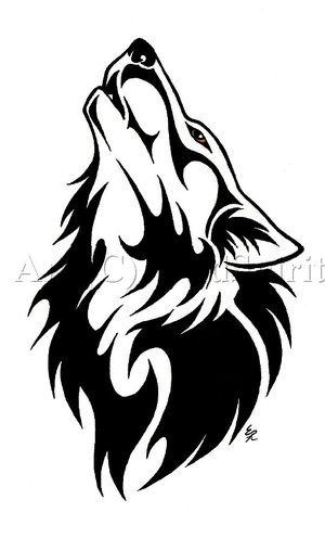Wolf tribal. Clipart black and white