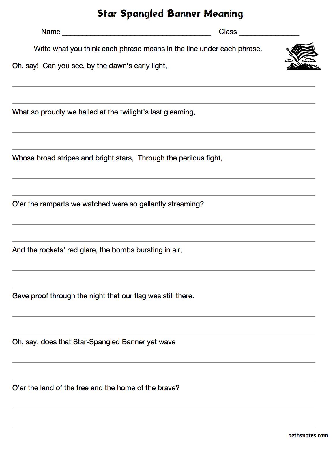 worksheet: Star Spangled Banner Worksheets The Lyrics Worksheet ...