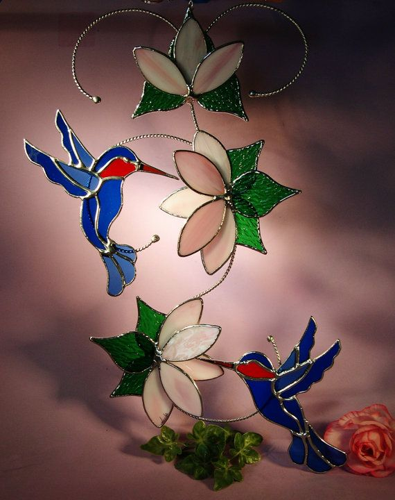 Stained Glass Suncatcher Hummingbirds with by StainedGlassbyWalter, $76.95