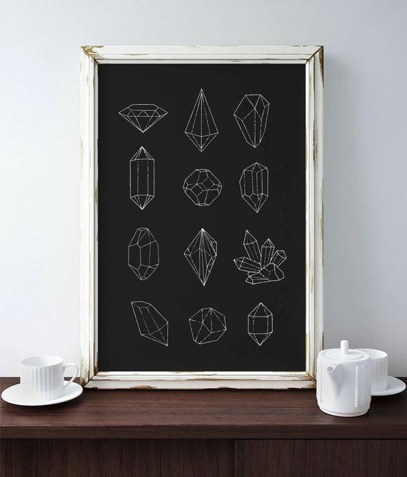 Crystal Chart Occult Art Print, Black and White Poster, Goth Home Decor, Minimalist #minimalisthomedecor
