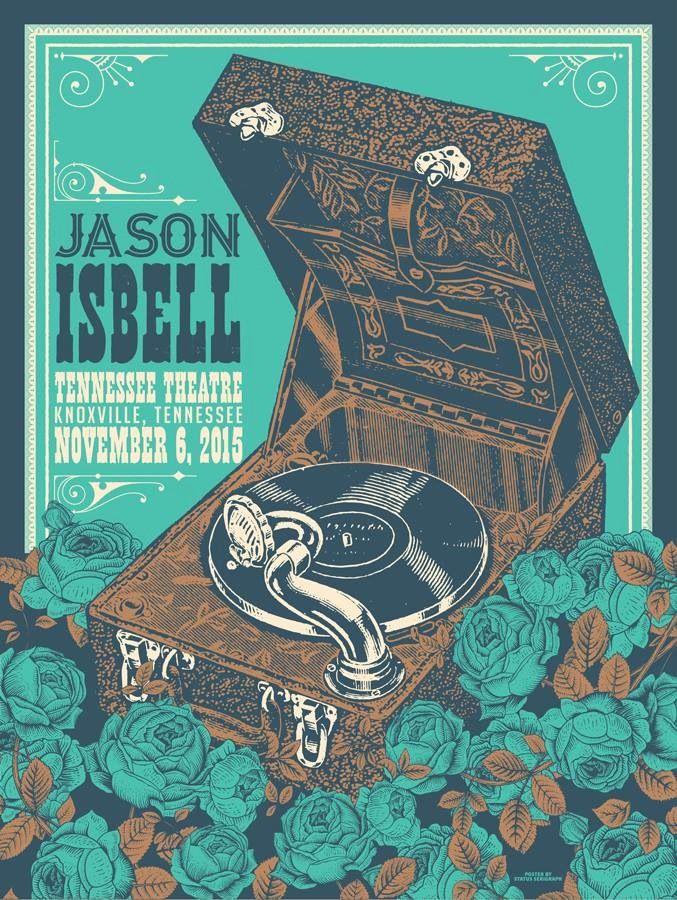 Jason Isbell Knoxville, TN gig poster via Status Serigraph