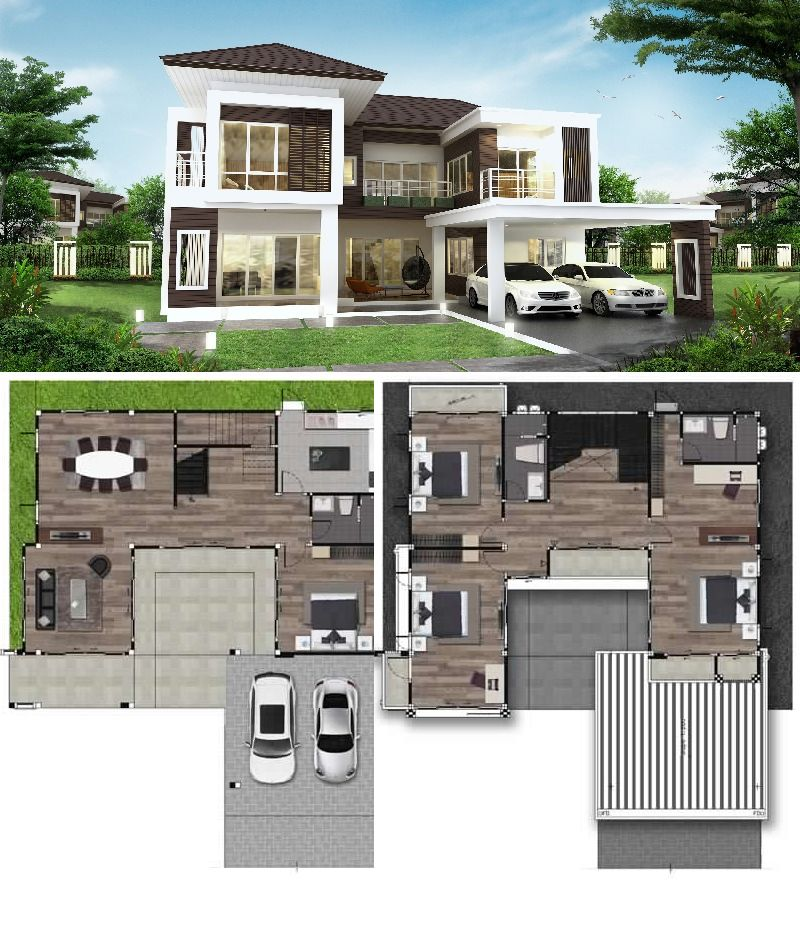 Four Bedroom Two Storey House And 2 Car Garage Architectural
