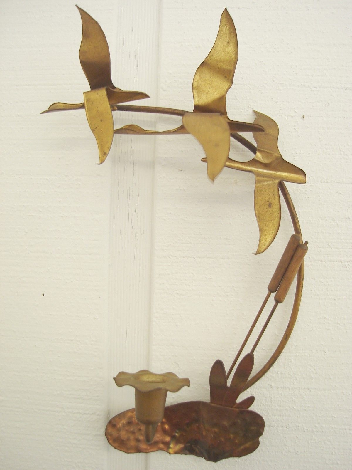 Metal Wall Art Flying Geese or Ducks Cattails Candle Holder Mid