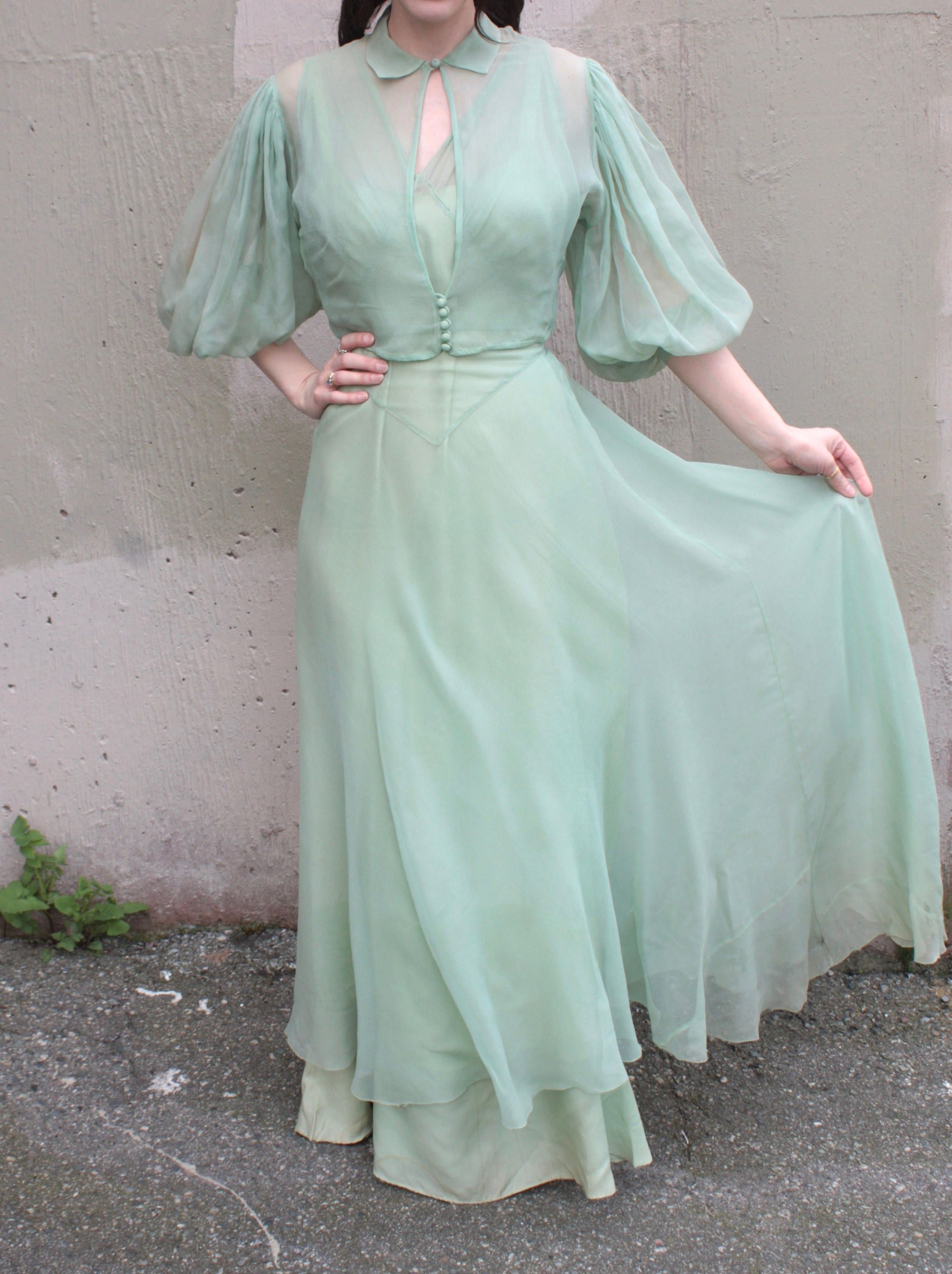 d0e42169a97 Vintage 1930 s Dress    30s Seafoam Green Bias Cut Cocktail Party Gown w   Sheer Silk Chiffon Overlay   Matching Balloon Sleeve Jacket Blouse by ...