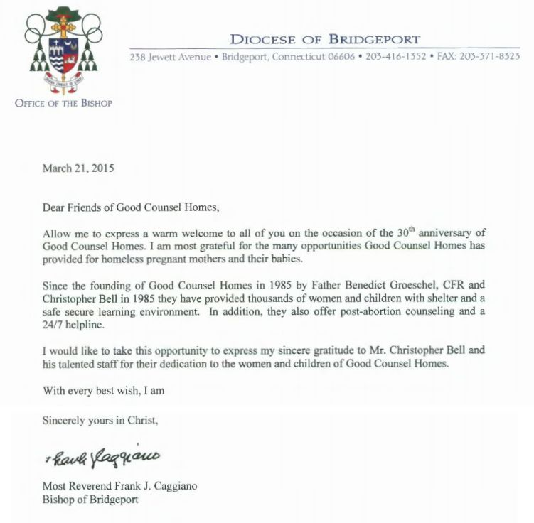 A letter from Most Reverend Frank J Caggiano, Bishop of - ministry cover letter