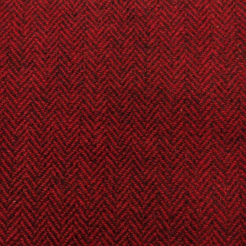Harris Tweed Fabric Red black
