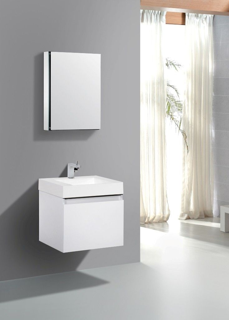 AQUA DECOR Venice 24 Inch Modern Bathroom Vanity Set W/ Medicine Cabinet    White
