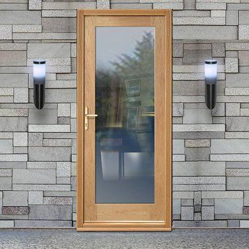 Oak exterior doors This Part L compliant external shaker 1 pane oak door with clear safety double glazing maximises light and minimize heat loss. & Pin by Ginny Saunders on home stuff | Pinterest | Oak doors Doors ...