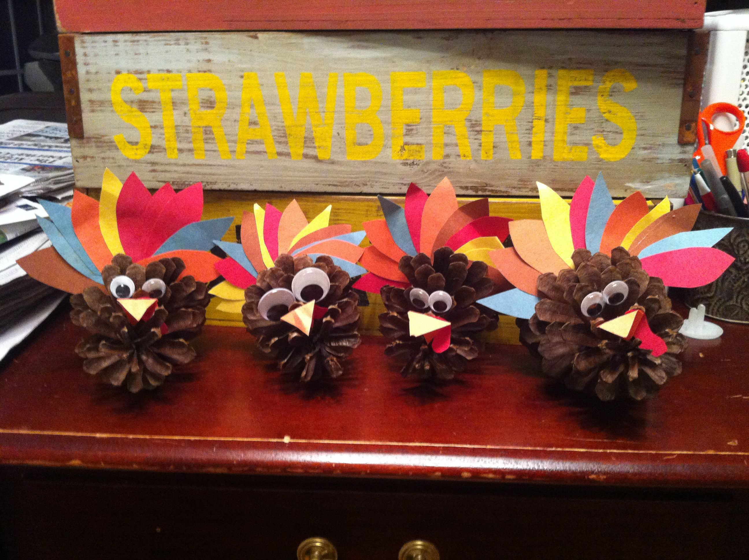 Made these little cuties tonight with my little cuties.....just some pinecones, googley eyes, and construction paper :)