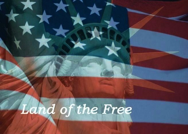 Card With Statue of Liberty and Flag Land of the Free card 4th of July Card With Statue of Liberty and Flag Land of the Free card  Limitless  Pop Art  Graffiti Keynote Te...