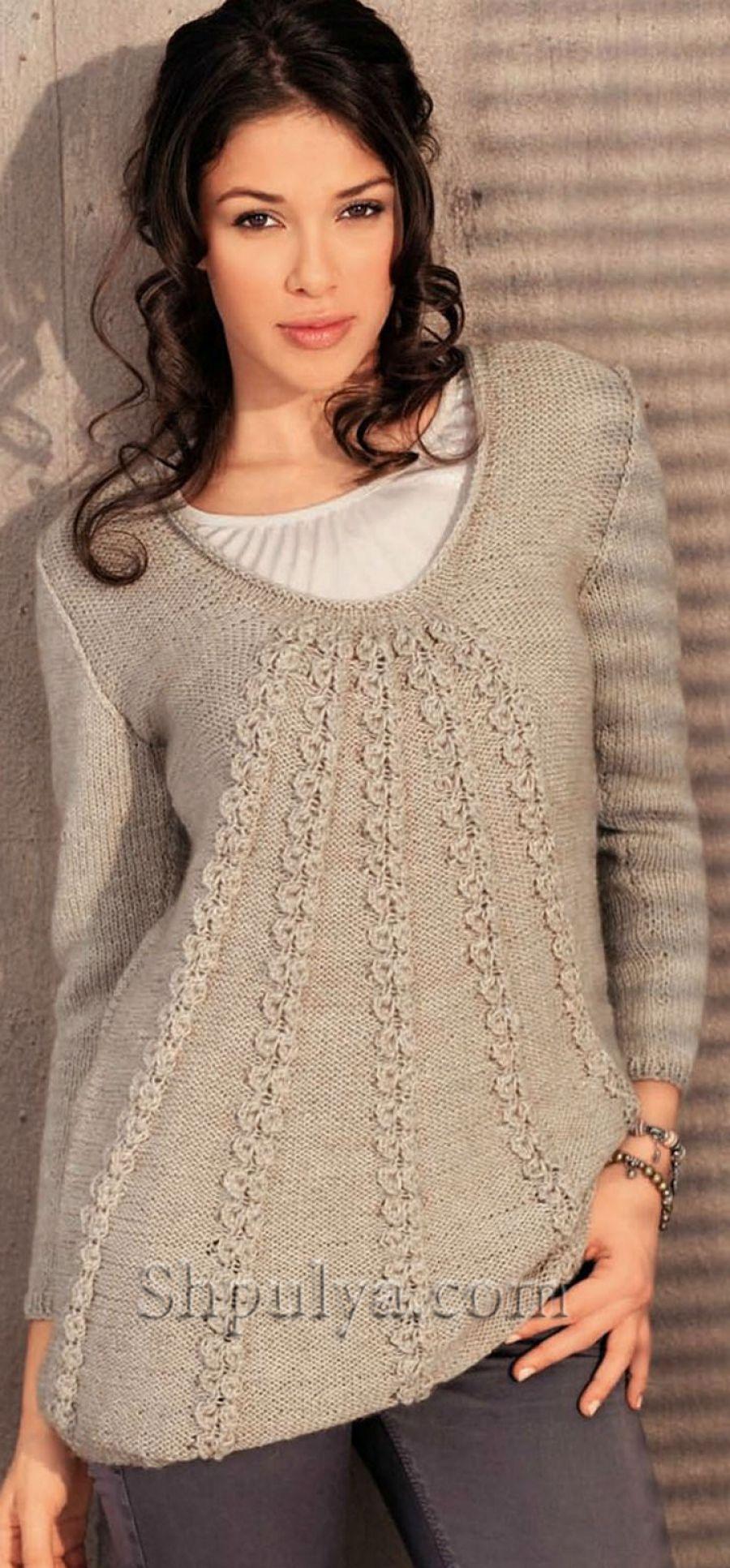 Wwwshpulyacom расклешенный пуловер вязаный спицами спицами