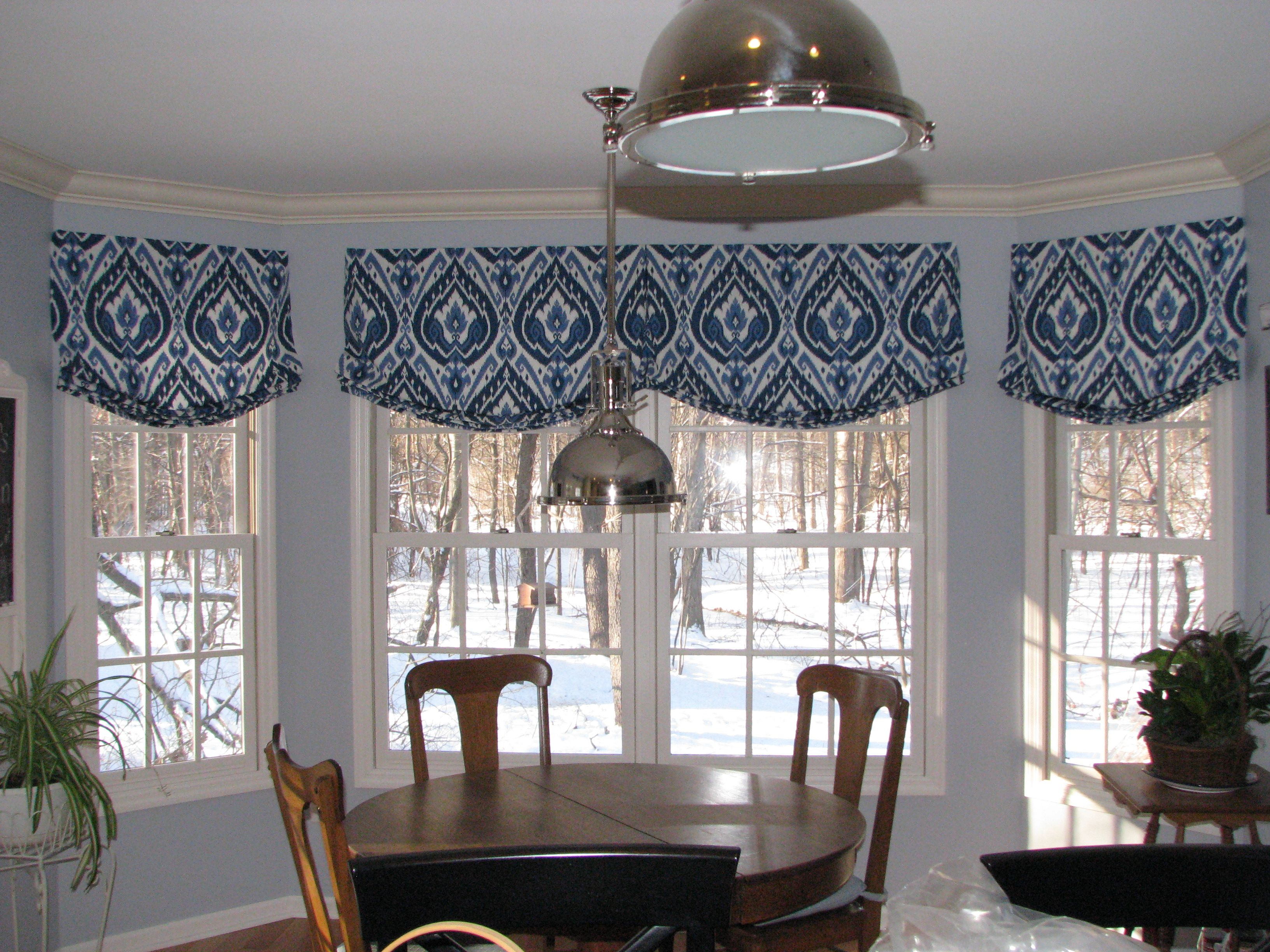 Relaxed roman shade valance in Ultra Marine Ikat pattern creates a ...