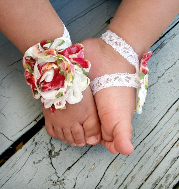 854492a199470 Baby Barefoot Sandals..Floral Print on Lace..Toddler Sandals ...