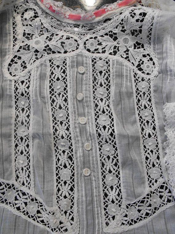 antique lace 36 bust Edwardian lace blouse shirt normandie lace