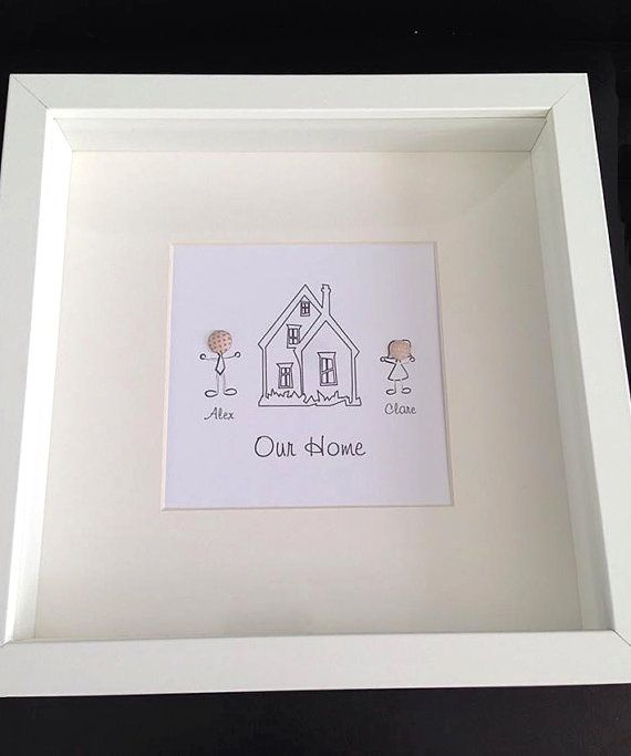 New Home Gift Personalised Frame Moving Gift House Warming Gift White Deep Frame 3d Head Stick People