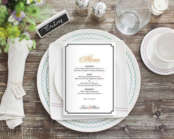 Personalized Wedding Reception Dinner & Bar Menu Signs - Elegant Fancy Calligraphy Monogram - 4x6, 5x7, 8x10 DIY Digital Printable