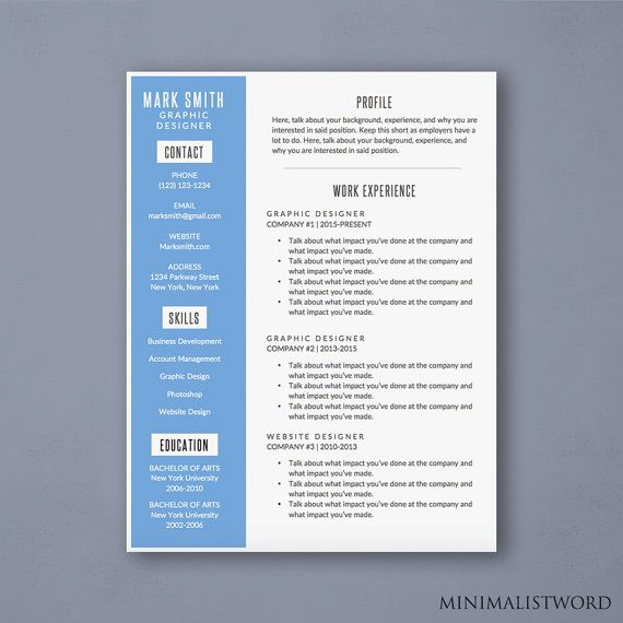 Word Resume Template With Blue Sidebar  Modern Resume Template