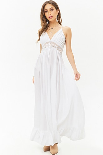 5897292a630a1 Boho Me Crochet-Trim Halter Maxi Dress in 2019 | Products | White ...