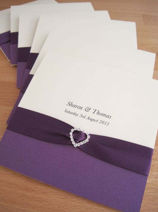 Albany Pocketfold Wedding Invitations In Cream And Purple Finished With Ribbon A Crystal Heart