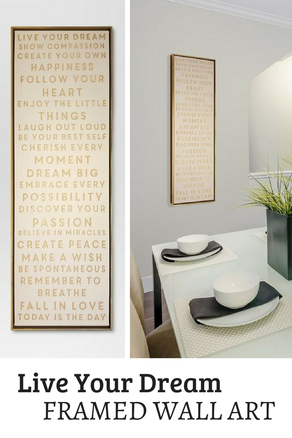 This 12 X36 Live Your Dream Framed Canvas From Threshold Is An Everyday Reminder Of How Beautiful Our Lives Are Perfec Dream Frame Canvas Frame Home Wall Art