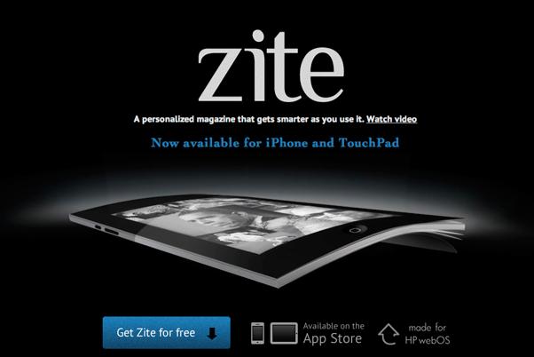 imagen que muestra un fondo negro y en primer plano destacan el logo de zite, y justo debajo se aprecia un montaje hecho de una revista y un ipad, en la parte inferior hay un link a la app store.