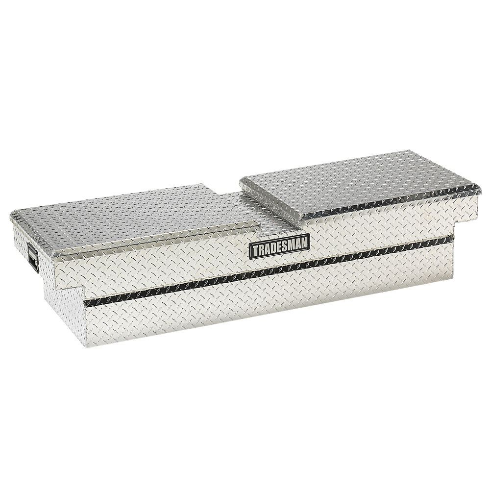 Silver Lund 9100T 70-Inch Aluminum Full Lid Cross Bed Truck Tool Box Diamond Plated