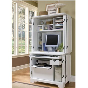 Office Furniture Home Styles Naples Compact Computer Cabinet With Hutch In White Finish Kitchensource