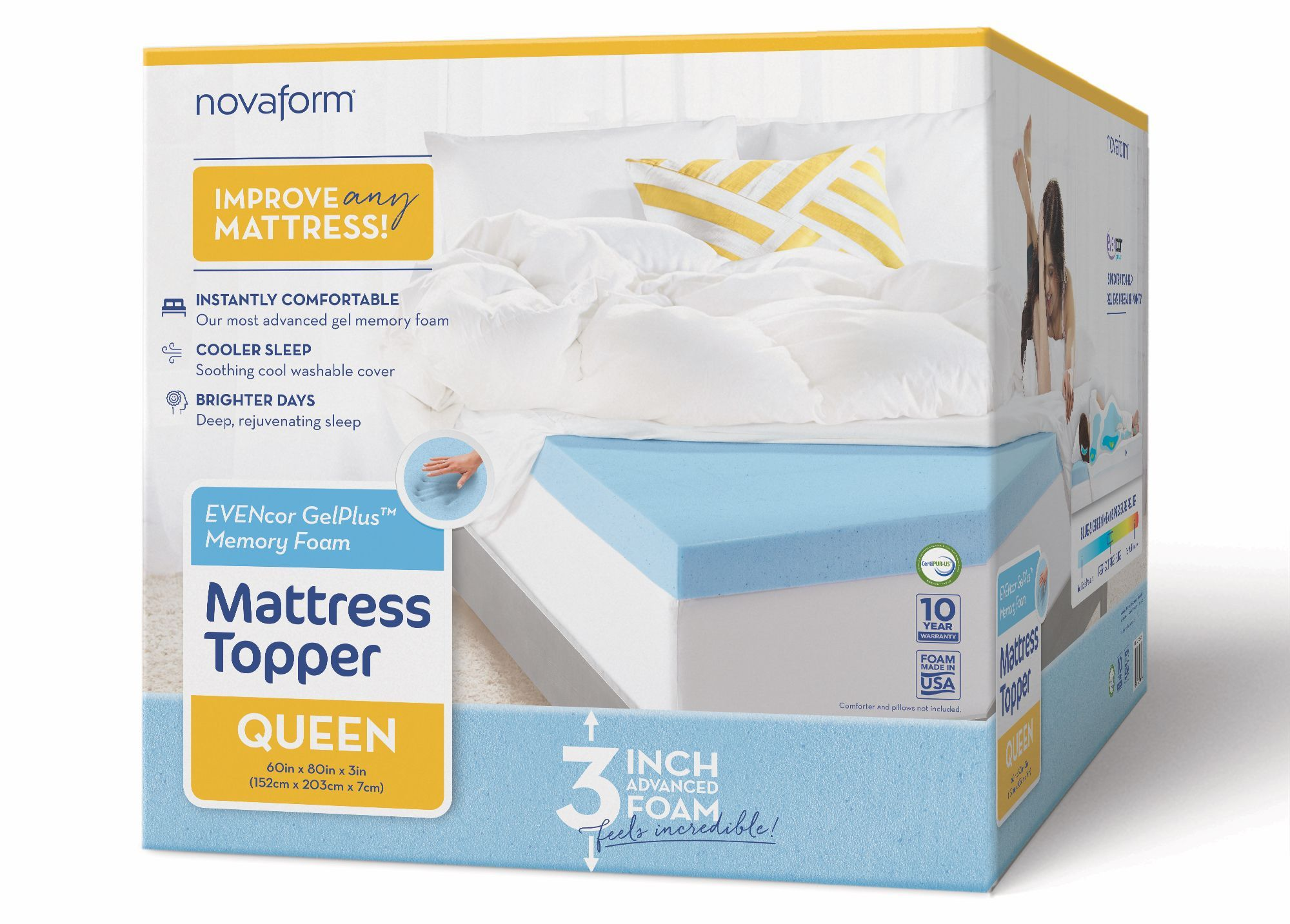 Novaform 3 Evencor Gelplus Gel Memory Foam Mattress Topper With