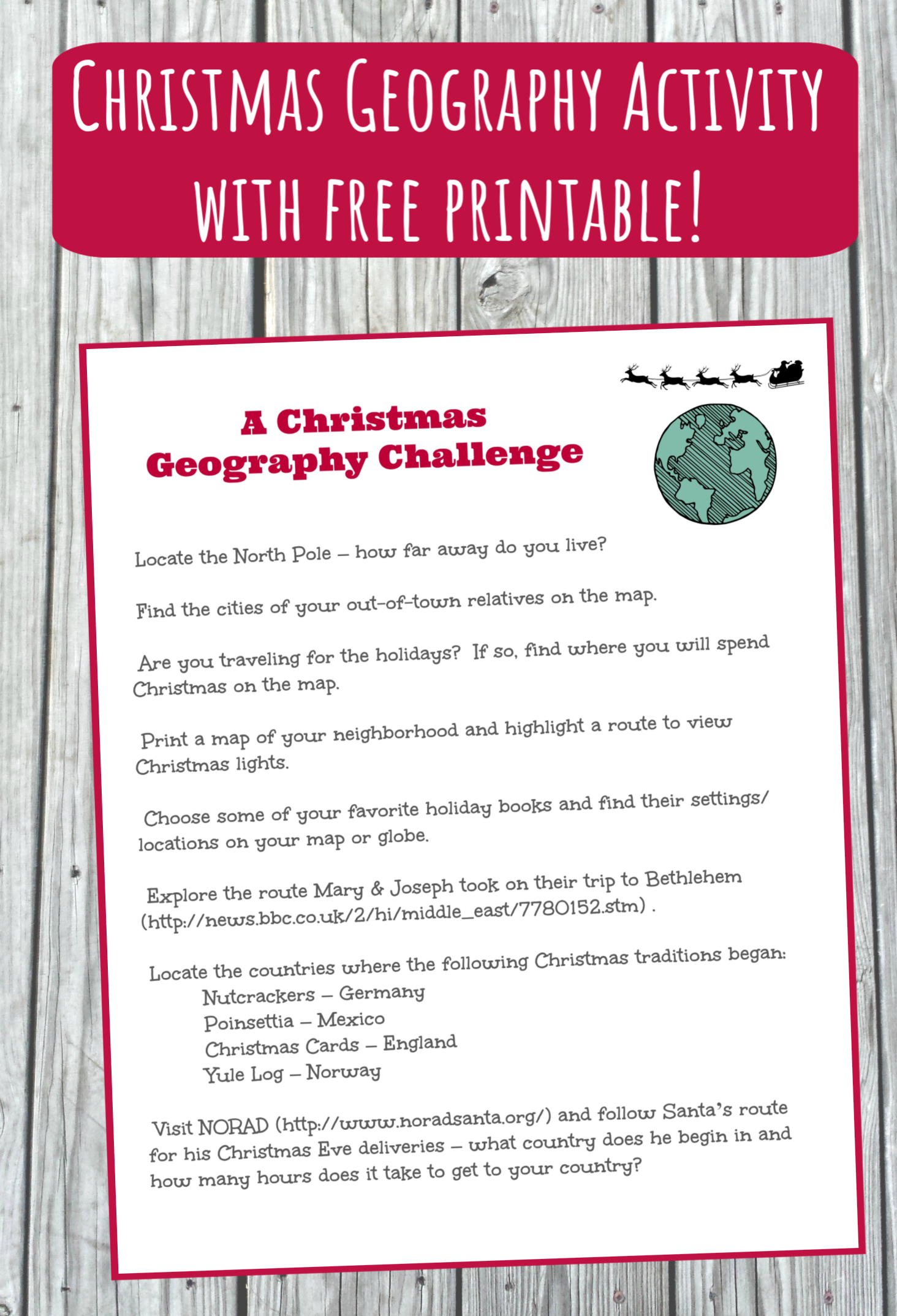 Christmas Around The World Map Activity W Free Printable