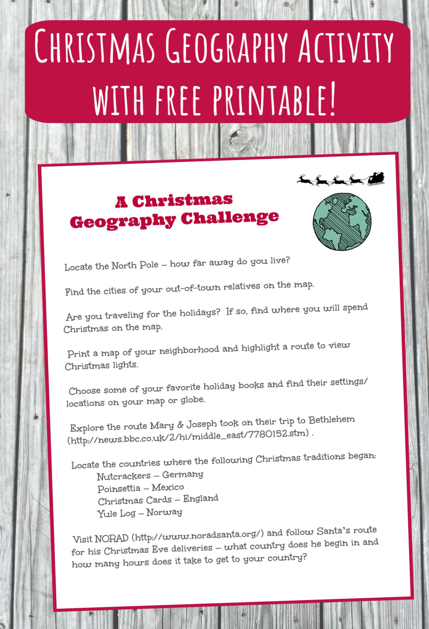 Christmas Around The World Map Activity W Free Printable