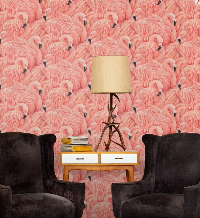Willow Boughs Wallpaper | Flamingo wallpaper, Flamingo and Wallpaper