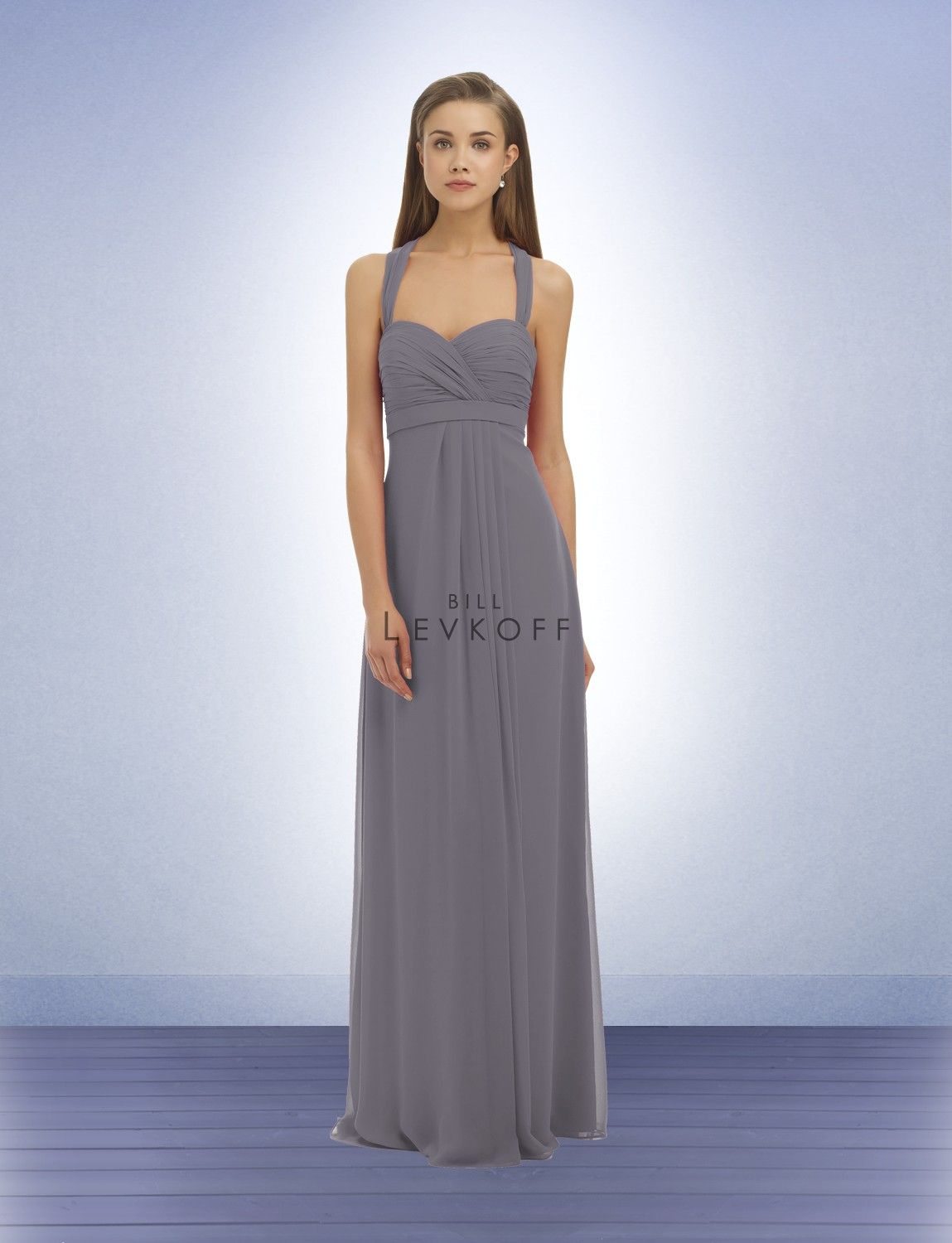 Bridesmaid dress style bill levkoff in pewter color winter