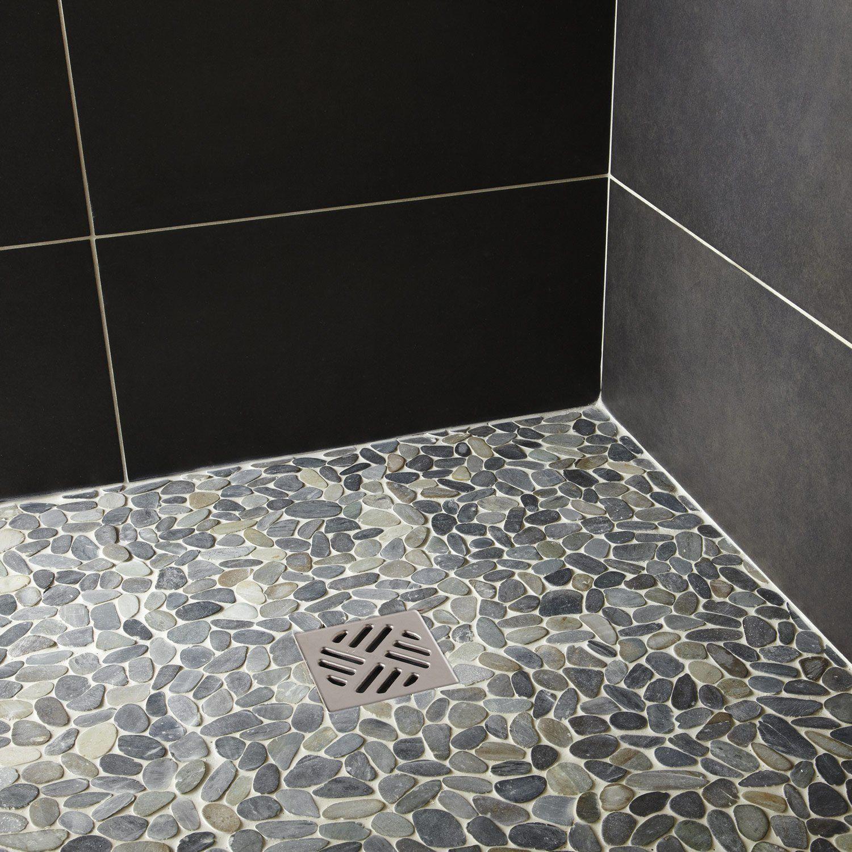 carrelage salle de bain galets sol et mur