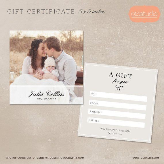Photography Gift Certificate Template For Photographers Psd Etsy Certificat