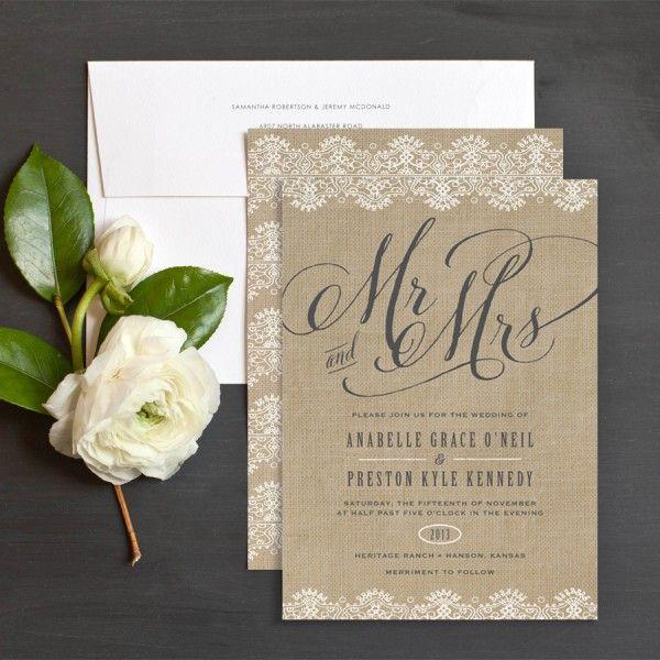 Burlap Wedding Invitation With Lace Border